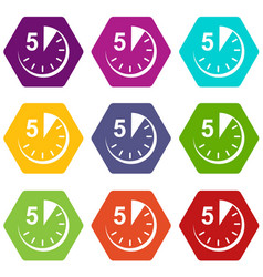 5 minutes icons set 9 vector image