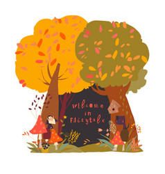 A beautiful woodland autumn scene with trees vector