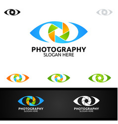 Abstract eye camera photography logo icon design vector