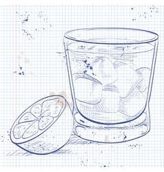 Alcoholic Cocktail Godmother on a notebook page vector