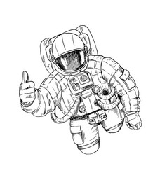 Astronaut in space suit with one hand ok gesture vector