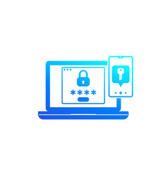 Authentication in two steps icon vector