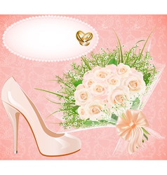 background with shoes bouquet and rings f vector image
