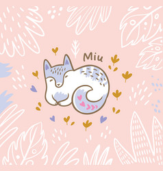 Beautiful floral card with cartoon fox or cat in vector