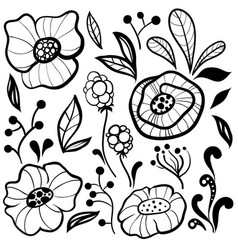 Black and white floral collection vector
