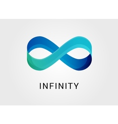 Blue abstract infinity endless symbol and icon vector