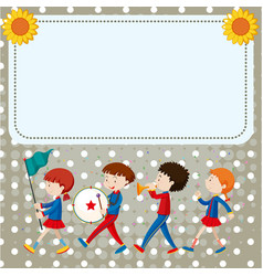 Border template with kids in the band vector