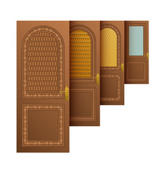 Brown entrance doors vector