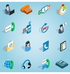 Call center set icons isometric 3d style vector image