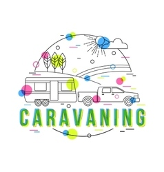 Caravaning Background with icons and vector