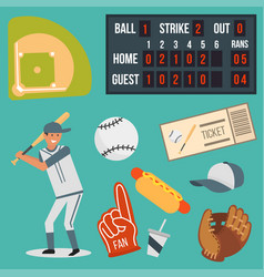 Cartoon baseball player icons batting vector