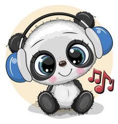 Cartoon panda with headphones on a yellow vector