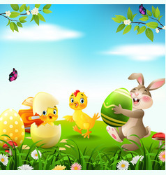 cartoon rabbit with bachicken and duckling vector image