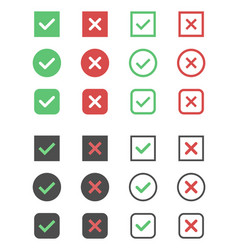 Check box icons tick and cross signs mark vector