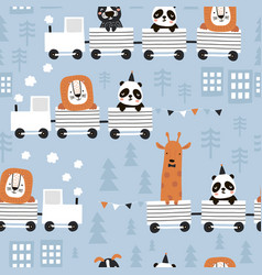 children s seamless pattern with cute animals vector image