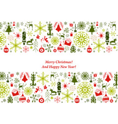 christmas card with flat xmas icons vector image