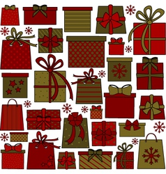 Christmas presents collection vector