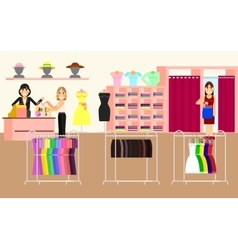 Clothing store Woman clothes shop and boutique vector