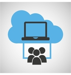Cloud computing service laptop group vector
