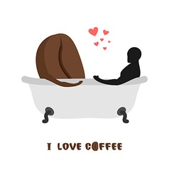 coffee lovers Coffee beans and person in bath vector image