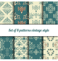 collection 8 seamless pattern vintage style vector image