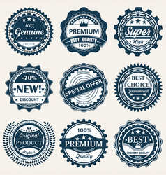 collection labels premium quality badges vector image