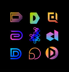 Collection logo letter d color gradient full vector