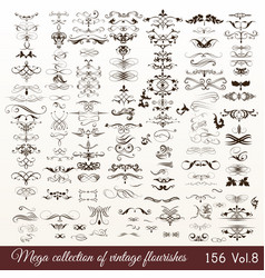 Collection or set of vintage styled flourishes vector
