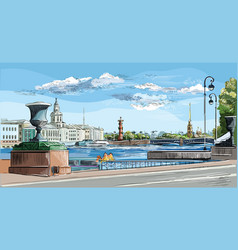 Colorful hand drawing st petersburg 10 vector