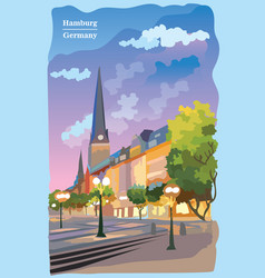 Colorful view of the church in hamburg vector