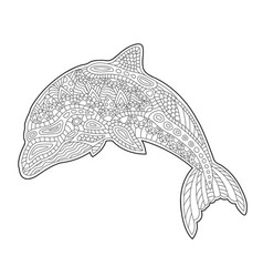 coloring book page with cute stylized dolphin vector image