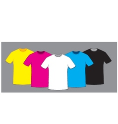 Coloured blank t-shirts template set vector