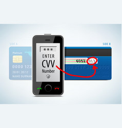 Credit Card CVV code with mobile phone vector image