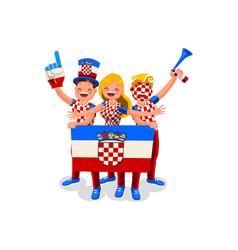 Croatians with croatia flag symbol vector