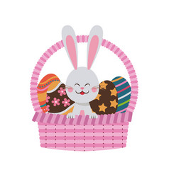 Cute easter bunny basket egg celebration party vector