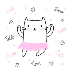 cute hand drawn postcard with funny cat dressed vector image