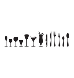 cutlery and drinking glasses vector image