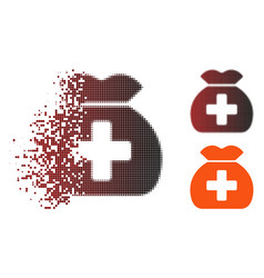 Dissolved pixel halftone medical fund sack icon vector