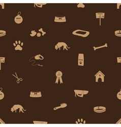 dog icons seamless brown pattern eps10 vector image