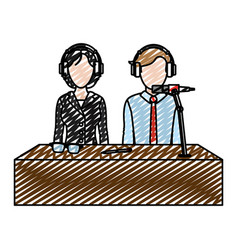 Doodle woman and man partner reporters press vector