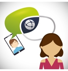 female avatar chat smartphone man bubble vector image