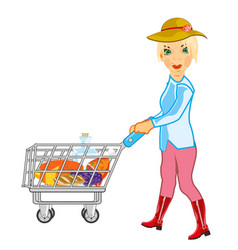Girl in shop rolls pushcart with product vector