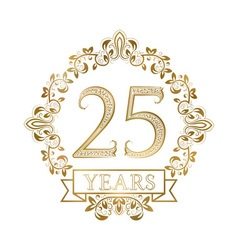 Golden emblem twenty fifth years anniversary in vector
