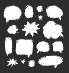 Handwriting set speech bubbles vector