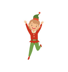 happy playful little boy in elf costume vector image