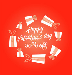 happy valentines day handwritten text vector image