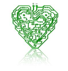 heart circuit board vector image