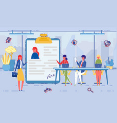 Hiring new woman worker signing contract flat vector