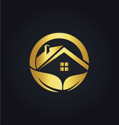 Home roof organic business gold logo vector