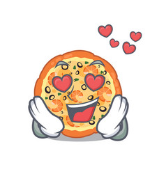 in love seafood pizza in mascot shape vector image